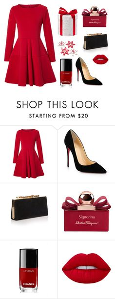 """""""MERRY CHRISTMAS"""" by osirisarambuloh on Polyvore featuring moda, WithChic, Christian Louboutin, Jimmy Choo, Salvatore Ferragamo, Chanel y Lime Crime"""