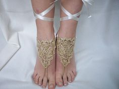 Gold Crochet Barefoot Sandals, Nude shoes, Foot jewelry,  Victorian Lace, Sexy, Yoga, Anklet , Bellydance, Steampunk, Beach Pool