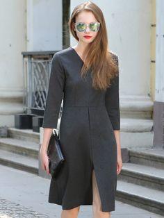Dark Gray,V-neck,3/4 Sleeve,Split,Dress