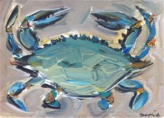 Blue Crab Painting by DevinePaintings on Etsy, $40.00
