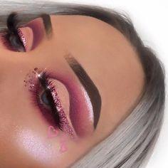 Glam makeup with pinks Glam Makeup, Eye Makeup Glitter, Cute Makeup, Gorgeous Makeup, Pretty Makeup, Skin Makeup, Eyeshadow Makeup, Beauty Makeup, Glowy Skin