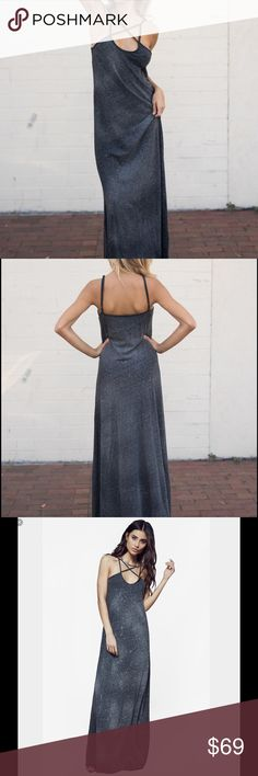 Blue Life Cross My Heart Maxi This soft jersey maxi dress has a little bit of a witchy box with the crisscross at the heart soft subtle galaxy wash across a gray dress with adjustable straps. Please no lowballs or trades✨ Blue Life Dresses Maxi