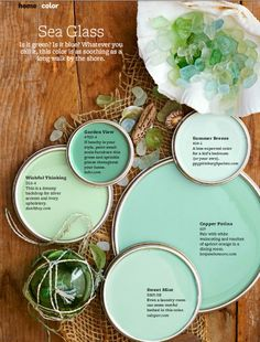 "Sea Glass Green Paint Colors - L.A. designer Sasha Emerson may have finally pinpointed why so many of us love, even obsess over, this soft blue-green color: ""It's a watered-down version of Tiffany blue."" Jewelry fantasies aside, this is a hue that makes you feel good, which is why you see it in a lot of spas, Emerson says."