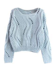 Green Plain Hollow-out Long Sleeve Wool Blend Sweater Cute Sweaters, Winter Sweaters, Sweater Weather, Sweaters For Women, Knitwear Fashion, Knit Fashion, Womens Fashion, Cropped Pullover, Cropped Sweater
