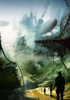 Steampunk Tendencies | Art by Alexander Preuss #Landscapes #Industrial…