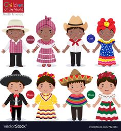 Kids in traditional costume-Jamaica-Cuba-Mexico. Children of the world-Jamaica-C , Drawing For Kids, Art For Kids, Jamaica, Costumes Around The World, En Stock, Cuba Stock, Hispanic Heritage, Spanish Heritage, Thinking Day
