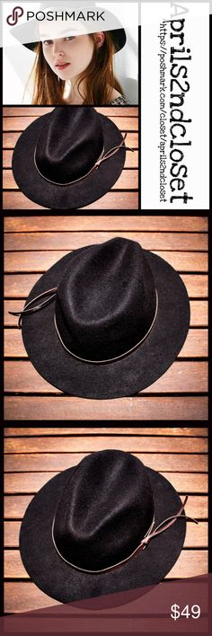 "BLACK HAT Wide Brim Fedora Crown BLACK HAT Panama Fedora Hat Wide Brim Hat NEW WITH TAGS  RETAIL PRICE: $75   * Molded fedora style crown; Approx. 3"" brim  * Faux leather strap    * Allover solid color w/contrasting strap  * One size fits many, approx a 22"" inner cir. crown   Fabric: 100% Wool  Color: black  Item:  No Trades ✅ Offers Considered*/Bundle Discounts✅  *Please use the blue 'offer' button to submit an offer Boutique Swim Coverups"