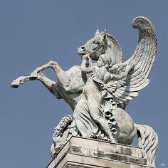 Fame Holding Pegasus.     Roof of the Palais Garnier, Paris.        Eugene louis Lequesne. (1815-1887)