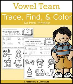 Vowel Team Trace Color & Find - easy no-prep printable for kids - 3Dinosaurs.com