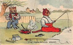 Louis Wain artwork Postcard Dressed Cat Fishing, The Fisherman's Dream