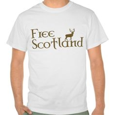 Free Scotland Tartan Highland Stag T-Shirt: A t shirt for supporters of Scottish independence from the UK Westminster government, lovers of Scottish tartan and Highland deer. The slogan reads 'Free Scotland' in a celtic style font and a light brown tartan pattern. A graphic of the iconic Highland stag, also in tartan, stands above the word Scotland. Colours in the plaid include light blue, deep brown, red and black. The design is inspired by the 2014 referendum on independence for Scotland.