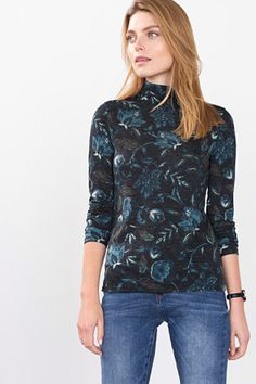 Esprit / Very soft printed jersey polo neck top