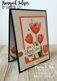 Stampin' Up! host stamp set Tranquil Tulips is available June 1st! So gorgeous with Color Theory DSP - #GDP089 - Sarah Fleming - Prepare to Dye Papercrafts