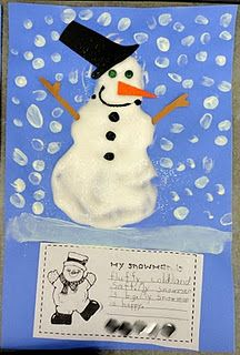 Snowman art with shaving cream and glue plus descriptive writing using adjectives to describe the snowman