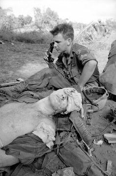 """Seriously injured by shrapnel grenades planted in a booby trapped Viet Cong propaganda stall, a U.S. soldier awaits evacuation from Vietnamese jungle by ambulance helicopter being summoned by a radio operator behind him on Dec. 5, 1965. The soldier was attempting to tear down a Viet Cong bamboo structure used to dispense propaganda when two M 79 grenades planted in one of the poles exploded in his face."""