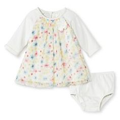 Baby Girls' Floral Empire Dress White - Cherokee® - Almond Cream/Floral