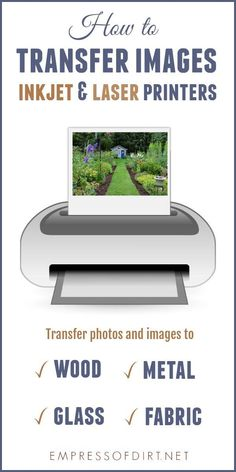 There are many options for transferring images and photos to surfaces like wood fabric glass metal and plastic. Print out your favourite images from an inkjet or laser printer use a transfer medium and get crafty. Transfer Photo To Glass, Transfer Images To Wood, Wood Picture Transfer, Paper Transfer To Wood, Canvas Photo Transfer, Mod Podge Photo Transfer, 3d Laser Printer, Inkjet Printer, Photo Craft