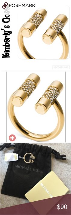 🎄GREAT GIFT🎄 ✨MICHAEL KORS✨ring 💯% AUTHENTIC MICHAEL KORS RING.  Urban style combines with modern design to create this crystal enhanced cylinder cuff ring.  Crafted of gold-tone mixed metal.  Tag is torn on one side (see photo 3).  Michael Kors jewelry pouch is included.  Great gift idea😊🎄🎁! Michael Kors Jewelry Rings
