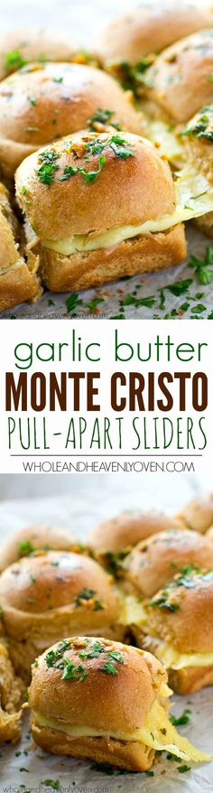 Party guests will fall head-over-heels for these monte cristo-stuffed cheesy sliders!---Simple to throw together at a moment's notice and unbelievably fun to eat!
