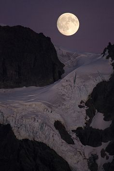 Moon Over Mount Shuksan - Washington State