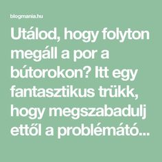 Utálod, hogy folyton megáll a por a bútorokon? Itt egy fantasztikus trükk, hogy megszabadulj ettől a problémától! – blogmania.hu Diy Cleaners, Nalu, Diy And Crafts, Life Hacks, Food And Drink, Home And Garden, Cleaning, Household Tips, Diet