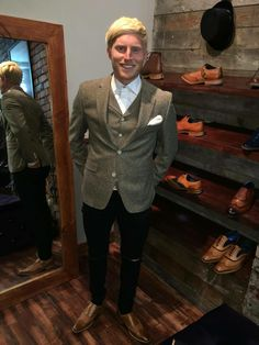 Ipswich footballer Ben Pringle in our Gibson London jacket and waistcoat