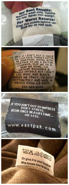 27 Hilarious Clothing Labels that will make you smile. I needed a good laugh today :)):