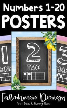Classroom Numbers Posters 1-20 - Tens Frames Posters - Building Number Sense - Decorate your elementary classroom bulletin boards and walls with this printable set of colorful farmhouse classroom numbers posters for kids. With two different version, you get 40 posters in all. These posters are perfect for preschool and primary classrooms. #primary #classroomdecor #math #elementary #numbers #kindergarten #preschool #1stgrade #2ndgrade #numbersense #cuteclassroom #farmhouse Cool Bulletin Boards, Classroom Bulletin Boards, Primary Classroom, Classroom Decor, Numbers Kindergarten, Book Corners, Classroom Organization, Organization Ideas, 5th Grade Math