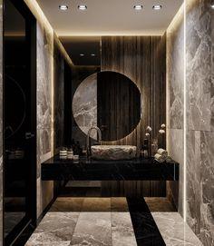 You can't use up creativity | BAX #design #interiordesign #architecture #bathroomdesign #powderroom #guestbathroom #sink #marble #wood #art #luxurylifestyle #luxury #luxurydecor #decor #home #homedecor Washroom Design, Bathroom Design Luxury, Toilet Design, Modern Bathroom, Dream Bathrooms, Beautiful Bathrooms, Washbasin Design, Bathroom Plans, Home Room Design