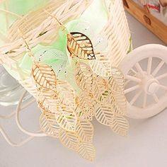 Dangle Drop Gold Leaf Earrings