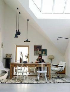 Hanglampen aan een schuin plafond