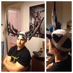 """A lot of people ask how we attach Malfurions horns we just made a """"helmet"""" under…"""