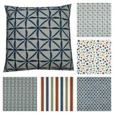 Cushion Covers Made with Batik Clarke & Clarke Fabric Indigo Handmade Scatter