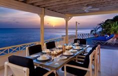 Sunset views from the outdoor dining terrace Easy Reach on Barbados