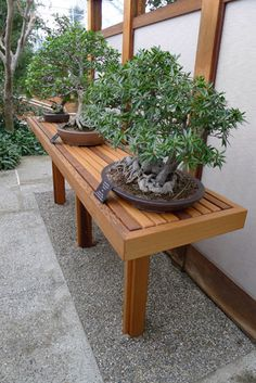 Bonsai bench attached to a building.                                                                                                                                                                                 More