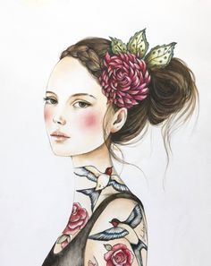 Juana & Roses by Claudia Tremblay Art And Illustration, Illustrations, Claudia Tremblay, 3 4 Face, Polychromos, Whimsical Art, Face Art, Painting Inspiration, Fine Art Paper