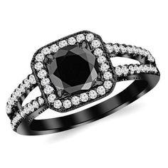 #blackdiamondgem 1.47 Carat 14K Black Gold Designer Split Shank Halo Style With Milgrain Diamond Engagement Ring with a 1 Carat Black Diamond Center (Heirloom Quality)by Houston Diamond District - See more at: http://blackdiamondgemstone.com/jewelry/wedding-anniversary/engagement-rings/147-carat-14k-black-gold-designer-split-shank-halo-style-with-milgrain-diamond-engagement-ring-with-a-1-carat-black-diamond-center-heirloom-quality-com/#sthash.46hiGPfU.dpuf