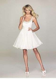 A-Line Scoop Neck Short/Mini Chiffon Charmeuse White Cocktail Dresses