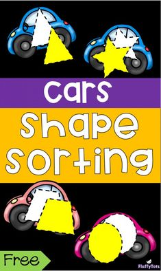 Car Shape Sorting Printables : Perfect for toddlers, preschoolers and Pre-K. Shapes For Toddlers, Indoor Activities For Toddlers, Sorting Activities, Shape Activities, Autism Activities, Physical Activities, Cars Preschool, Transportation Theme Preschool, Toddler Preschool
