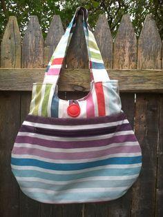 Reversible multicolored striped canvas purse by keriBdesigns, $29.00