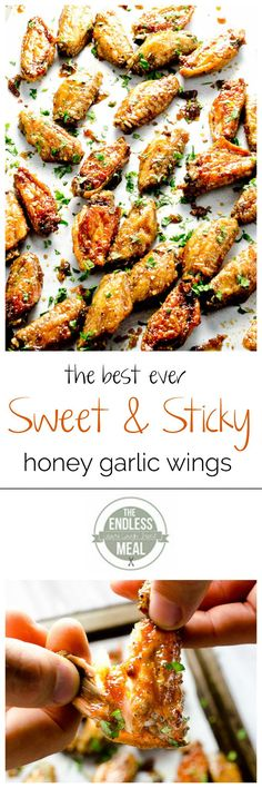 Honey Garlic Chicken Wings These sweet and sticky Honey Garlic Chicken Wings are baked instead of fried and are crispy and delicious.These sweet and sticky Honey Garlic Chicken Wings are baked instead of fried and are crispy and delicious. Turkey Recipes, Paleo Recipes, Cooking Recipes, Honey Garlic Chicken Wings, Honey Wings, Baked Chicken Wings, Low Carb Chicken Wings, Grilled Chicken, Chicken Wing Recipes
