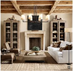 LOVE the coffee table, chairs, couch and lights Aspen French Oak Metal Rail Square Coffee Table Restoration Hardware Living Room, Restoration Hardware Lighting, Living Room Designs, Living Room Decor, Oak Living Room Furniture, Furniture Risers, Formal Living Rooms, Sala Grande, Lounge Chair