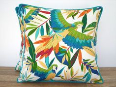 Tropical throw pillow cover outdoor fabric teal by anitascasa