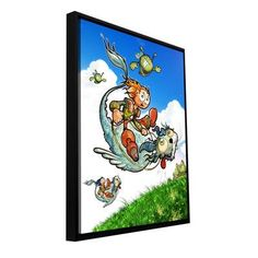 """ArtWall 'Flying 1' by Luis Peres Framed Graphic Art on Wrapped Canvas Size: 48"""" H x 36"""" W"""