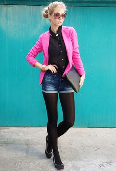 hot pink blazer and shorts with tights