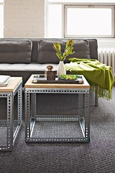 Industrial shelving tables, thinking outside the square - funky, good fun, home, shop, office fitout.   http://www.racknstackwarehouse.com.au/products/cairns/rivet-shelving/