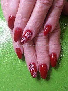 Maraschino cherry gel polish with freehand snowflake nail art #nails #nailart