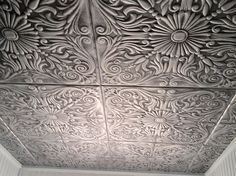 "Decorative Tin Ceiling Tiles Lilies And Swirls  Faux Tin Ceiling Tile  24""x24""  #204  Faux"