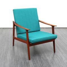 60er Jahre Teak Sessel, neu bezogen // 60s teak armchair by Velvet-Point via dawanda.com