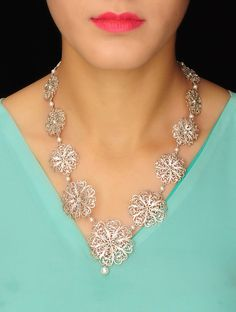 Classic Floral Silver Necklace #jewelry #online #handmade #filigree #hyderabad